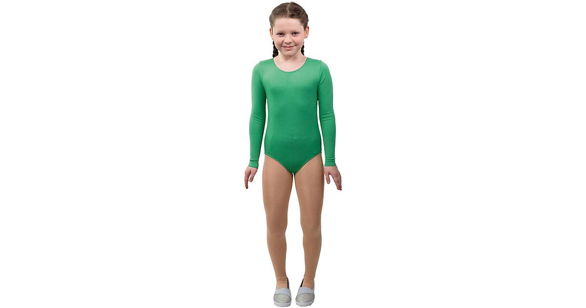 Body grün Langarm Gr. 116/128 Mädchen Kinder