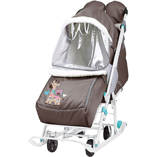 """Санки-коляска Nika """"Наши детки"""", шоколадные с жирафом от Nika-Kids"""