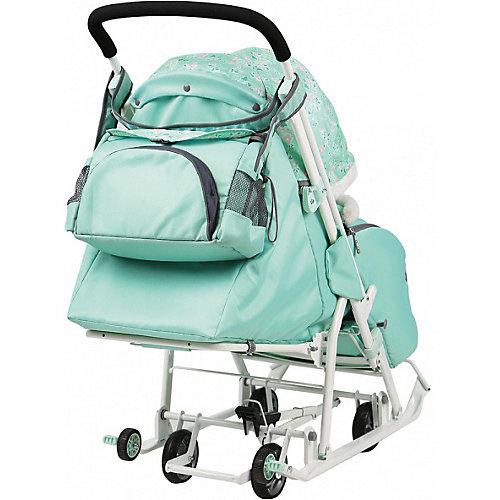 Санки-коляска Ника детям Disney Baby 2 Минни Маус, мятный от Nika-Kids
