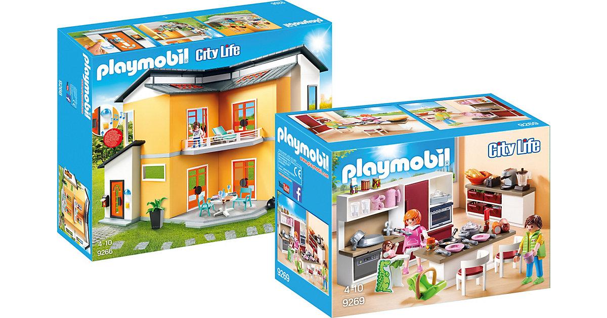 Bundle PLAYMOBIL® City Life: 9266 Modernes Wohnhaus + 9269 Große Familienküche