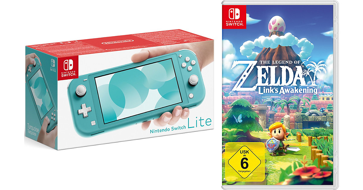 Image of Nintendo Switch Lite Konsole, türkis inkl. Nintendo Switch The Legend of Zelda: Link's Awakening