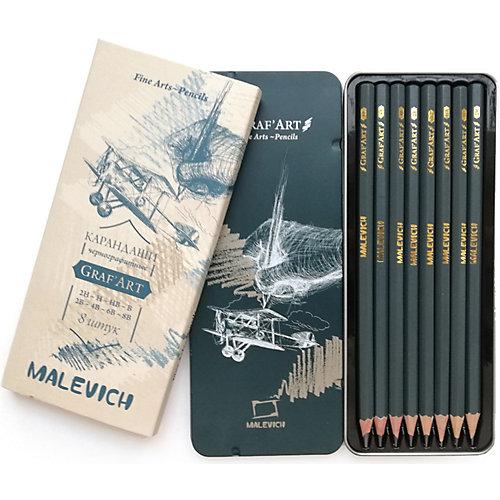 Набор чернографитных карандашей Малевичъ Graf'Art в металлической коробке, 8 шт от Малевичъ