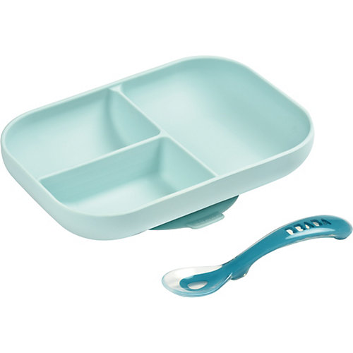 Набор посуды Beaba Set Repas Silicone Avec Ventouse, голубой - синий от BÉABA