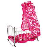 Кроватка-качалка Buggy Boom Loona, темно-розовый со звездами