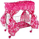 Кроватка с балдахином Buggy Boom Loona, темно-розовый со звездами