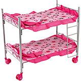 Кроватка двухэтажная Buggy Boom Loona, розовый с кольцами