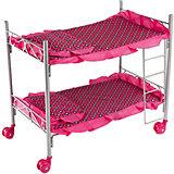 Кроватка двухэтажная Buggy Boom Loona, темно-розовый с узором