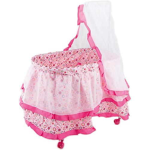 Кроватка с балдахином Buggy Boom Loona, розовый с разноцветнмыми кружочками от Buggy Boom