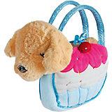 """Мягкая игрушка Fluffy Family """"Щенок в сумочке-пирожное"""", 21 см, коричнево-голубая"""