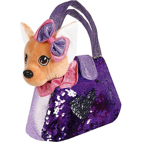 """Мягкая игрушка Fluffy Family """"Щенок в сумочке с пайетками"""", 19 см, фиолетовая от Fluffy Family"""