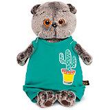 Мягкая игрушка  Budi Basa Кот Басик в изумрудном комбинезоне с кактусом,  30 см