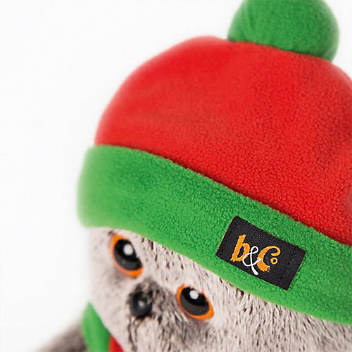 Мягкая игрушка  Budi Basa Кот Басик в оранжево-зеленой шапке и шарфике, 25 см от Budi Basa