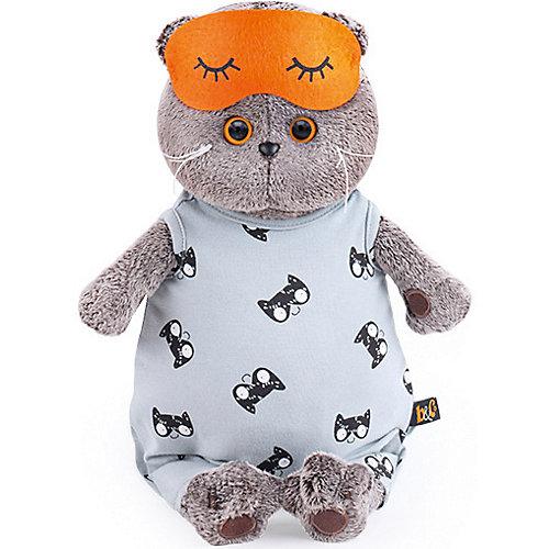 Мягкая игрушка  Budi Basa Кот Басик в сером комбинезоне и маске для сна, 25 см от Budi Basa