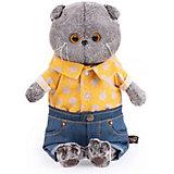 Мягкая игрушка  Budi Basa Кот Басик в джинсовых шортах и желтой рубашке,  30 см