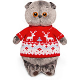 Мягкая игрушка  Budi Basa Кот Басик в свитере с оленями, 25 см