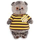 Мягкая игрушка  Budi Basa Кот Басик в полосатой футболке с пчелой,  30 см
