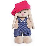 Мягкая игрушка  Budi Basa Зайка Ми в синем комбинезоне в полоску и с малиновой кепкой, 32 см