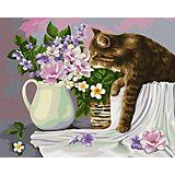 "Картина по номерам Фрея ""Кошка в лукошке. Жанна Когай"", по дереву"