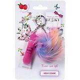 Блеск для губ Lukky с блестками, розовый с ароматом малины, с плюшевым брелоком