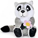 Мягкая игрушка Maxi Play Енотик с цветочком озвученный, 21 см