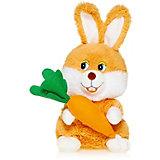 Мягкая игрушка Maxi Play Зайка с морковкой озвученный, 20 см
