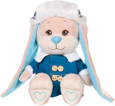 Мягкая игрушка Jack&Lin Зайчик в синей дубленке 25 см