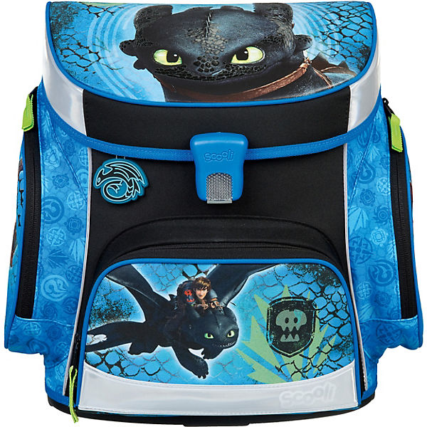 Schulranzenset Campus Fit Pro Dragons, 6-tlg., schwarz/blau (Kollektion 2020)