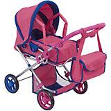 Коляска-трансформер 2-в-1 для кукол Buggy Boom Infinia, розовая с синим