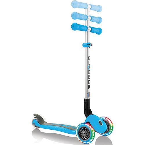 Трехколесный самокат Globber Primo Foldable Lights, голубой от Globber