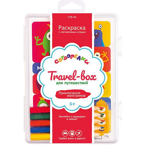 """Набор для раскрашивания Сотворелки. Travel-box для путешествий  """"Приключения монстриков"""", (30 листов) от Сотворелки"""