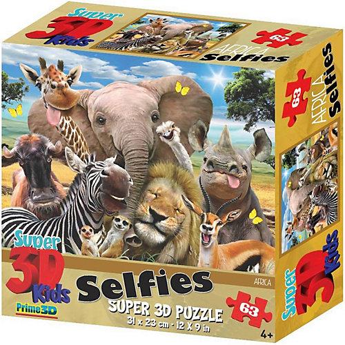 Пазл Prime 3D «Африка селфи», 63 деталей (стереоэффект) от Prime 3D