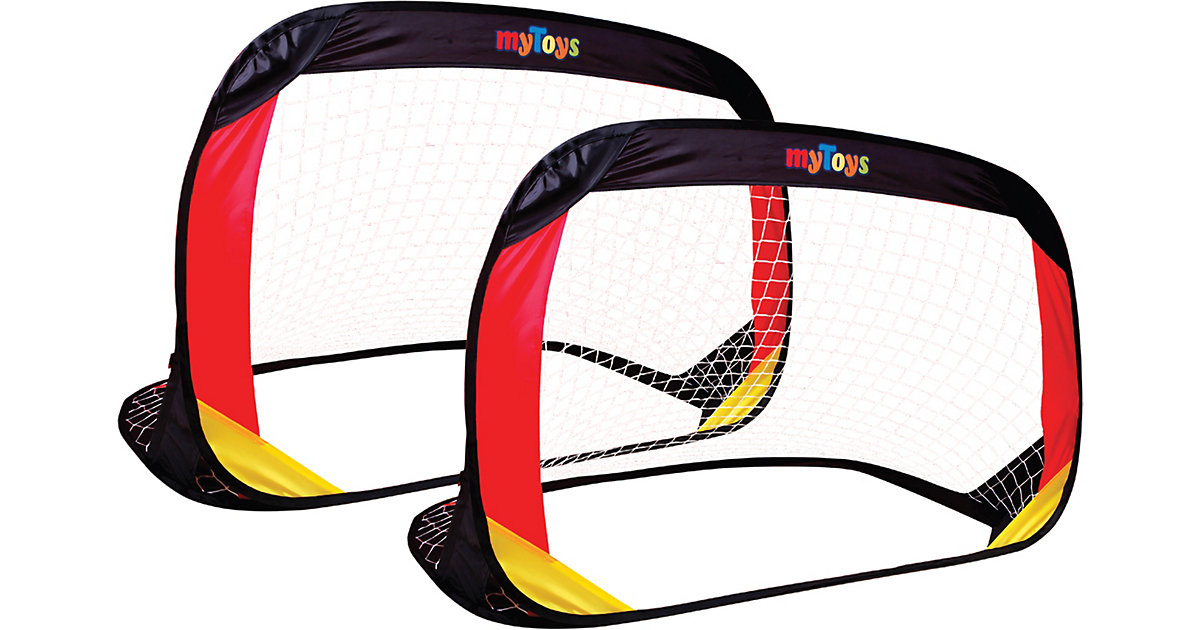 myToys Fußballtor Pop Up 2er Set, schwarz/rot/gold