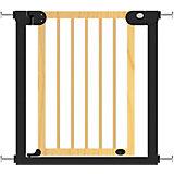 Барьер-калитка для дверного проема Baby Safe XY-006, 75-85 см, черный металл + натуральное дерево