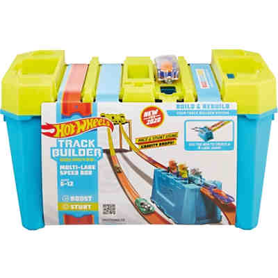 Hot Wheels Track Builder Unlimited Mehrspurige Speed Box, Starter-Set inkl. 1 Auto