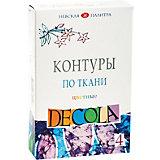 Контуры по ткани 3ХК Decola, 4 цвета, акриловые