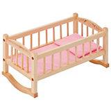 Деревянная кроватка-люлька для кукол Paremo, розовый текстиль