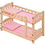 Двухъярусная кукольная кроватка Paremo, розовый текстиль