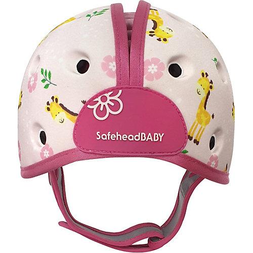 Мягкая шапка-шлем для защиты головы Safehead Baby Жираф, бело-розовый