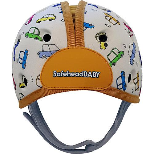 Мягкая шапка-шлем для защиты головы Safehead Baby Машинки, бело-оранжевый