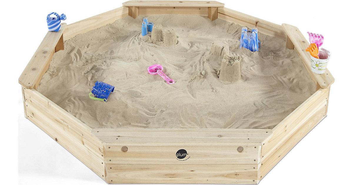 Sandkasten aus Holz mit Bänken und Schutzhülle holzfarben