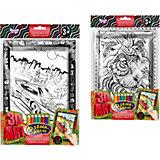 Набор для творчества Danko Toys Комплект из двух рельефных раскрасок Суперкар и Лев