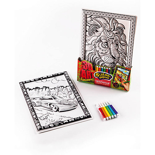 Набор для творчества Danko Toys Комплект из двух рельефных раскрасок Суперкар и Лев от Danko Toys