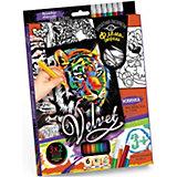 Набор для творчества Danko Toys Бархатная раскраска фломастерами Тигр