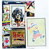 Набор для творчества Danko Toys Раскраска карандашами по номерам Собачка