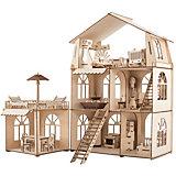 Сборная модель ХэппиДом Коттедж с пристройкой и мебелью Premium