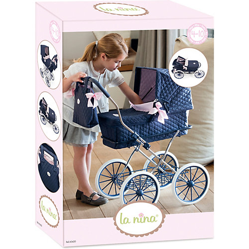 Коляска для кукол La Nina, тёмно-синяя с розовым от La Nina