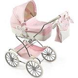 Коляска для кукол La Nina, розовая с белым