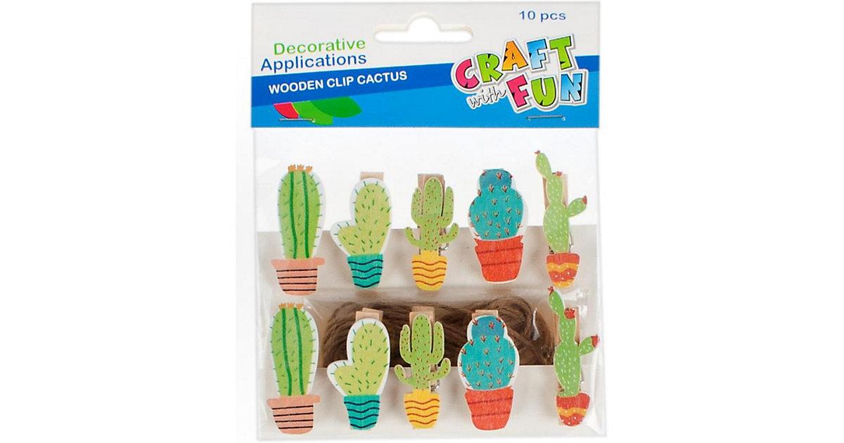 Holzklammer Kaktus, 10 Stück