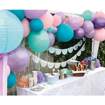 Let's be Mermaid Party Box, Bis 12 Personen, mit Ballongirlande und mit Mermaid-Stift als Gastgeschenk