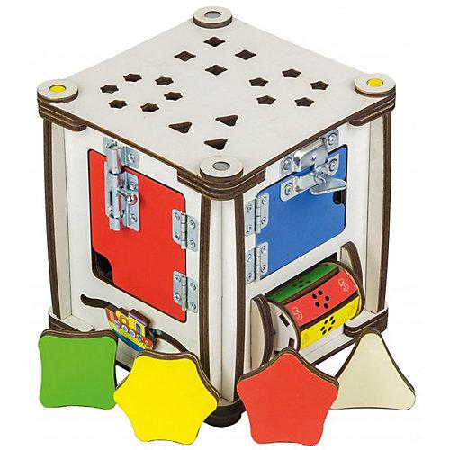 "Бизиборд Iwoodplay ""Кубик Мультицвет"", 17х17х18 см, свет от Iwoodplay"